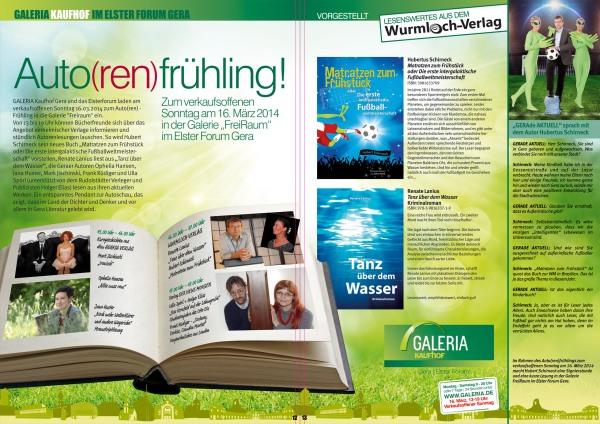 Lesung auf dem Geraer Autorenfrühling am 16.3.2014, Tanz über dem Wasser, Matratzen zum Frühstück
